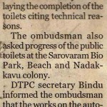 Corp Given Ultimatum to Complete Work on Toilets