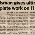 Ombudsman gives ultimatum to complete work on 11 toilets