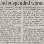 Forums defend suspended woman lawyer